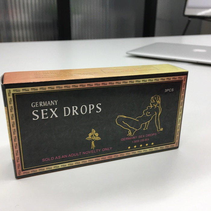 Did you ever tried germany sex drops? Classic package of germany sex drops on table. How it works?